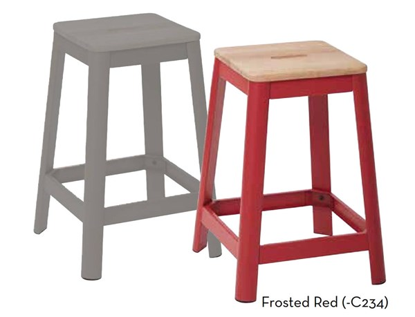 Hammond 26 Inch Frosted Red Metal Frame Lightwood Seat Barstool OSP-HMM9426L-C234