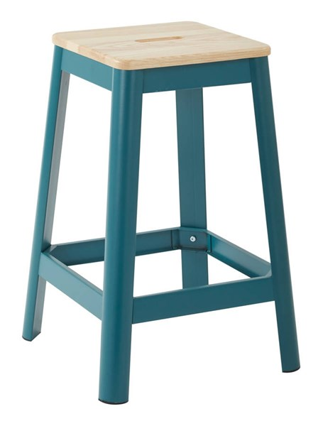 Hammond Frosted Teal Metal Lightwood Seat 26 Inch Barstool OSP-HMM9426L-C236