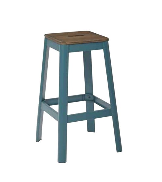 Hammond 30 Inch Frosted Teal Metal Frame Darkwood Seat Barstool OSP-HMM9430D-C236