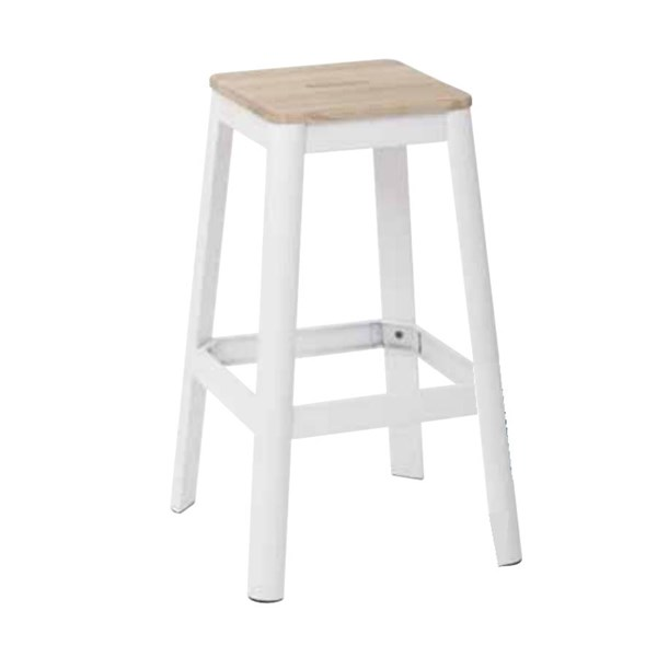Hammond 30 Inch Frosted White Metal Frame Lightwood Seat Barstool OSP-HMM9430L-C231