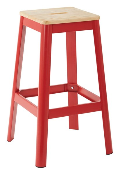 Hammond Frosted Red Metal Lightwood Seat 30 Inch Barstool OSP-HMM9430L-C234