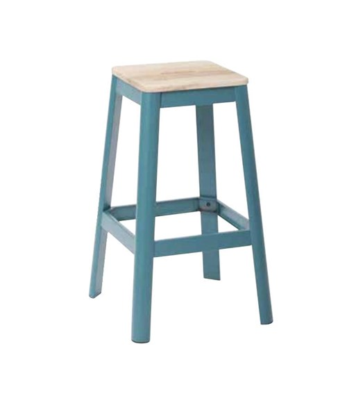 Hammond 30 Inch Frosted Teal Metal Frame Lightwood Seat Barstool OSP-HMM9430L-C236