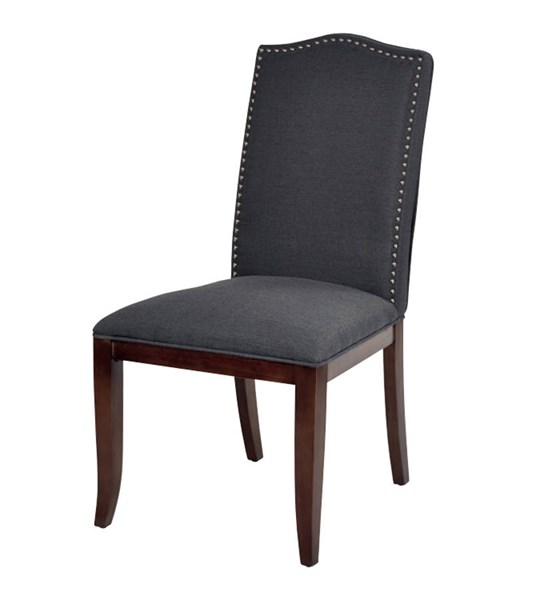 Hanson Charcoal Fabric Espresso Wood Legs Nailhead Trim Dining Chair OSP-HSN-K26