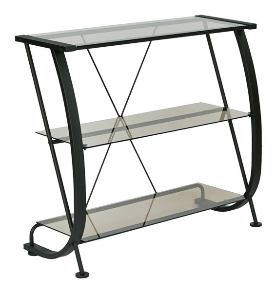 Horizon Modern Black Powder Coated Metal Frame 3 Glass Shelf Bookcase OSP-HZN27