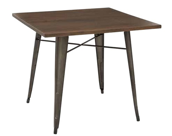 Indio Contemporary Walnut Veneer Top Matte Gunmetal Table OSP-IND432-C209-1