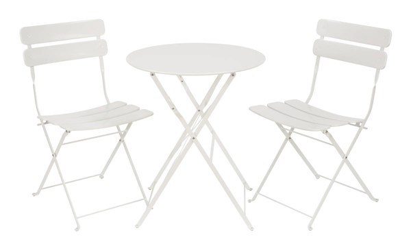 Cottage White Metal Folding 3pc Dining Set (Table & 2 Chairs) OSP-JX432AS-71