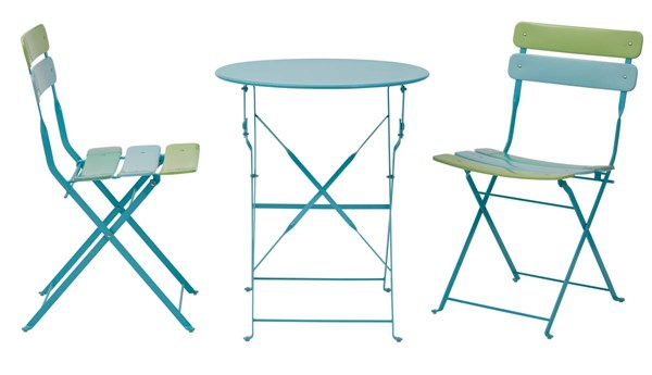 Cottage Blue Green Metal Folding 3pc Dining Set (Table & 2 Chairs) OSP-JX432AS-76