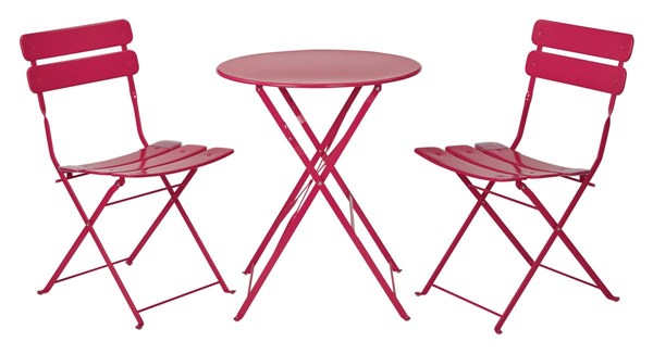 Cottage Rose Red Metal Folding 3pc Dining Set (Table & 2 Chairs) OSP-JX432AS-79