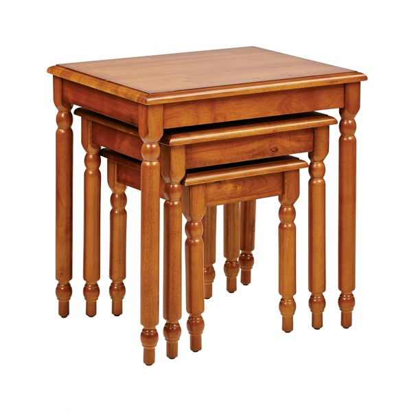 Knob Hill Transitional Antique Cherry Solid Wood 3pc Nesting Table Set OSP-KH19