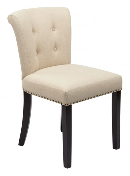 Kendal Ivory Linen Wood Tufted Back Chair OSP-KND-X14