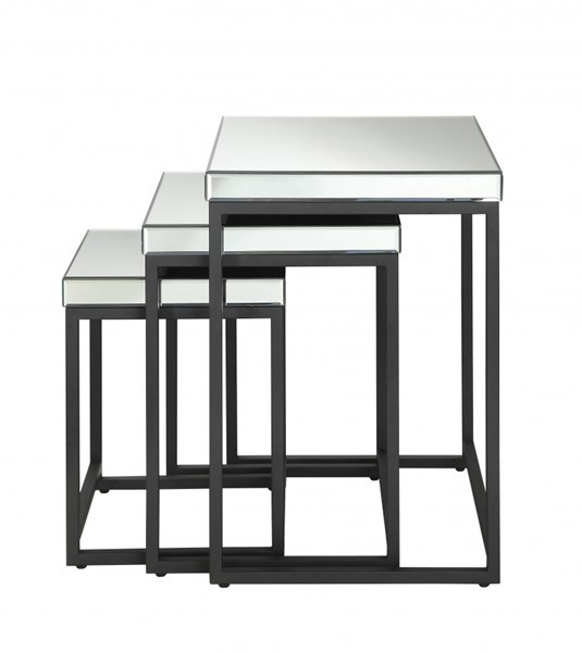 Krystal 3pc Square Glass Surface Nesting Tables w/Metal Legs OSP-KRY193-A