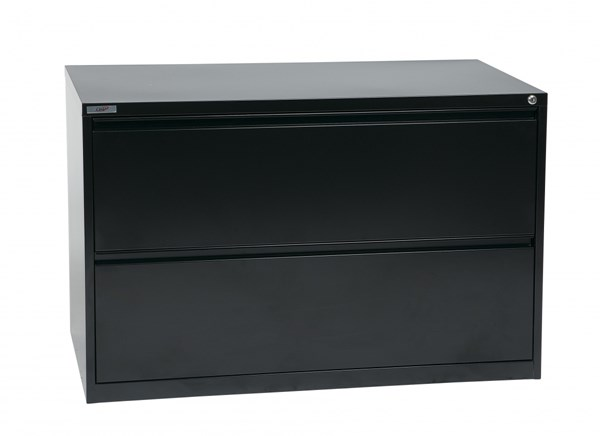 Black Metal Wide 2 Drawer Lateral File (L 20 X W 42 X H 28) OSP-LF242-B