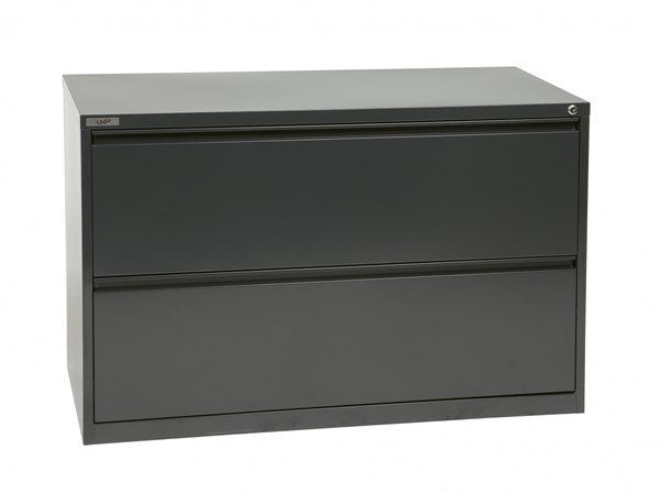 Charcoal Metal Wide 2 Drawer Lateral File (L 20 X W 42 X H 28) OSP-LF242-C