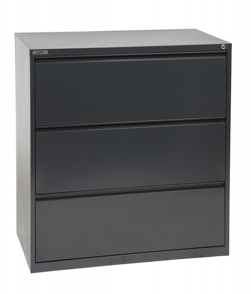 Charcoal Metal Wide 3 Drawer Lateral File (L 20 X W 36 X W 40) OSP-LF336-C