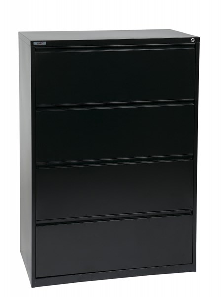 Black Metal Wide 4 Drawer Lateral File (L 20 X W 36 X H 52) OSP-LF436-B