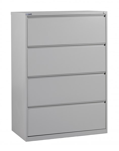 Ligth Gray Metal Wide 4 Drawer Lateral File (L 20 X W 36 X H 52) OSP-LF436-G