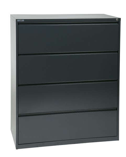 Charcoal Metal Wide 4 Drawer Lateral File (L 20 X W 42 X H 52) OSP-LF442-C