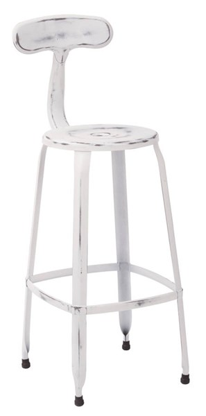 2 Lexington 30 Inch White Metal Supportive Back & Footrest Barstools OSP-LXT3230A2-AW