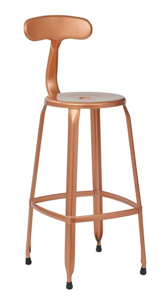 4 Lexington 30 Inch Copper Metal Supportive Back & Footrest Barstools OSP-LXT3230A4-CP