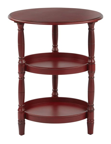 Lynwood Transitional Vintage Wine Solid Wood MDF Round Accent Table OSP-LYN9594-AC12