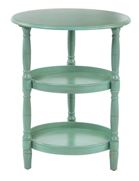 Lynwood Transitional Antique Blue Solid Wood MDF Round Accent Table OSP-LYN9594-AC14