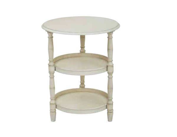 Lynwood Transitional Antique Beige Solid Wood MDF Round Accent Table OSP-LYN9594-YCM2