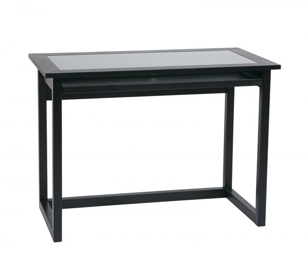 Meridian Contemporary Black Wood Glass 42 Inch Tool Less Computer Desk OSP-MD2542
