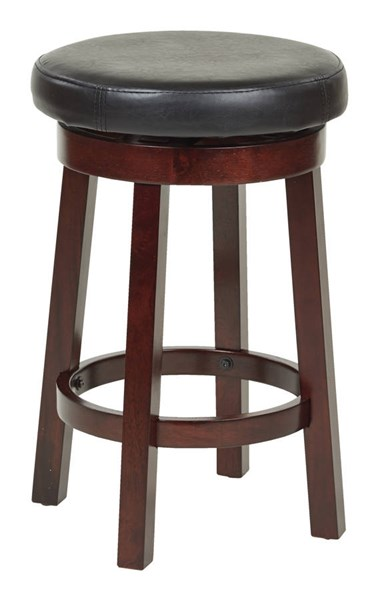 Metro Black Wood Faux Leather 24 Inch Round Barstool OSP-MET1924-BK