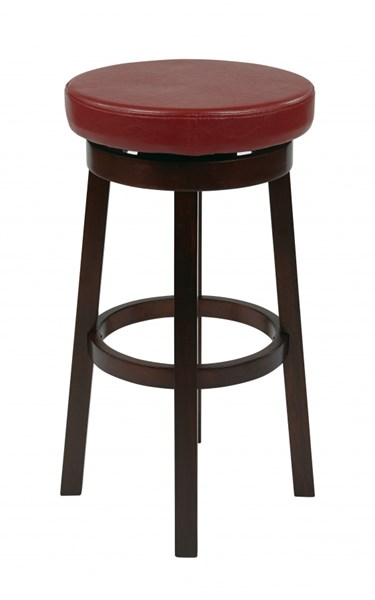 Metro Crimson Red Wood Faux Leather 30 Inch Round Barstool OSP-MET1930-RD