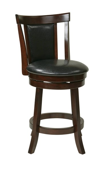 Metro Modern Black Faux Leather 24 Inch Swivel Barstool OSP-MET2224-BK