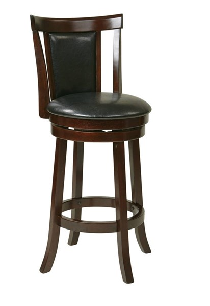 Metro Modern Black Faux Leather 30 Inch Swivel Barstool OSP-MET2230-BK