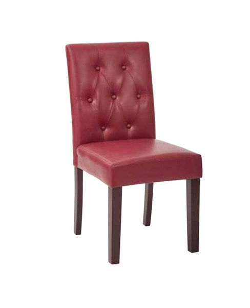 7 Button Cranberry Deluxe Bonded Leather Espresso Wood Dining Chair OSP-MET27B-BD22