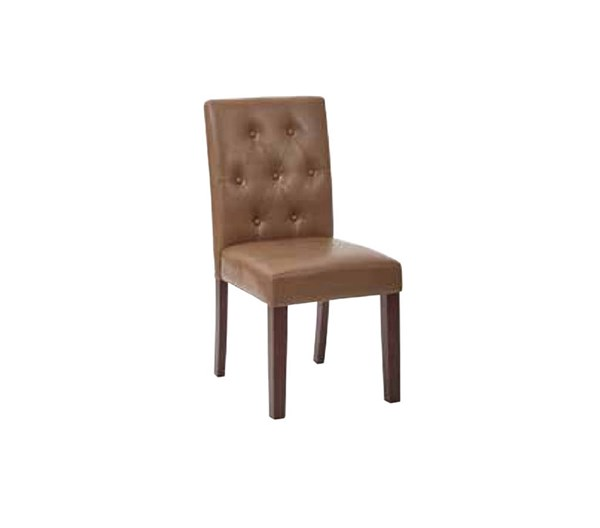 7 Button Molasses Deluxe Bonded Leather Espresso Wood Dining Chair OSP-MET27B-BD23