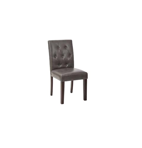 7 Button Pewter Deluxe Bonded Leather Espresso Wood Dining Chair OSP-MET27B-BD26