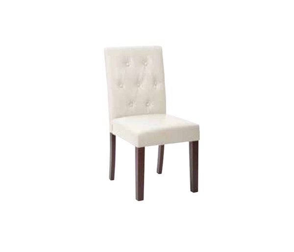 7 Button Cream Deluxe Bonded Leather Espresso Wood Dining Chair OSP-MET27B-BD28