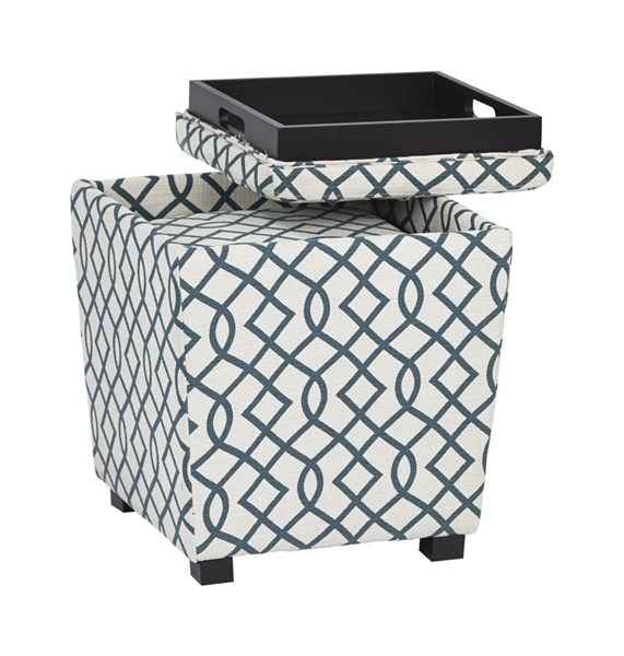Metro Jason Geo Blue Fabric Wood 2-Piece Ottoman Set OSP-MET361-G23