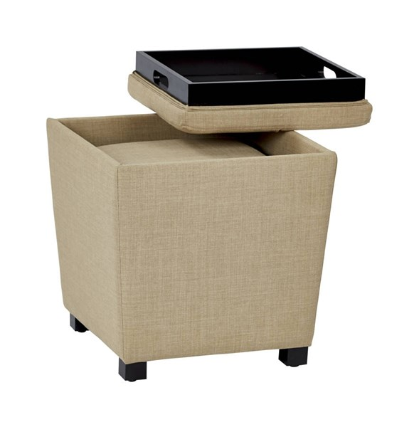 Metro Modern Milford Maize Fabric Wood Tray Top 2pc Ottoman Set OSP-MET361-M23