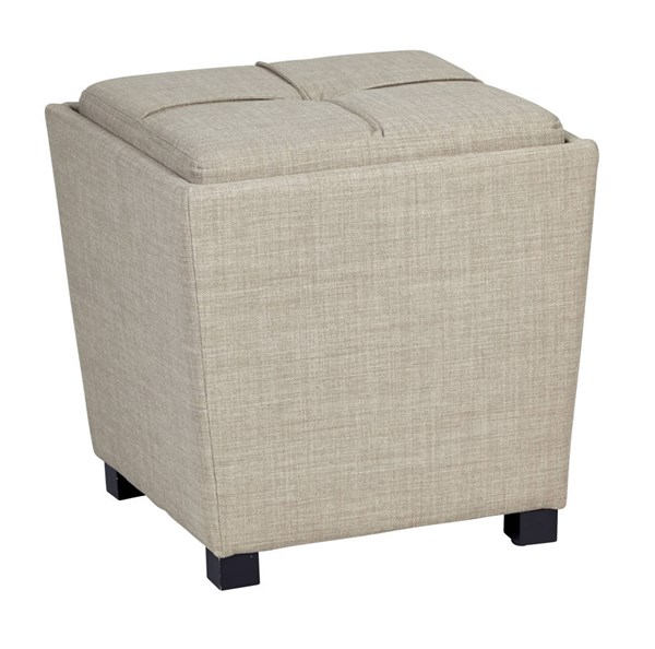 Metro Modern Milford Toast Fabric Wood Tray Top 2pc Ottoman Set OSP-MET361-M25