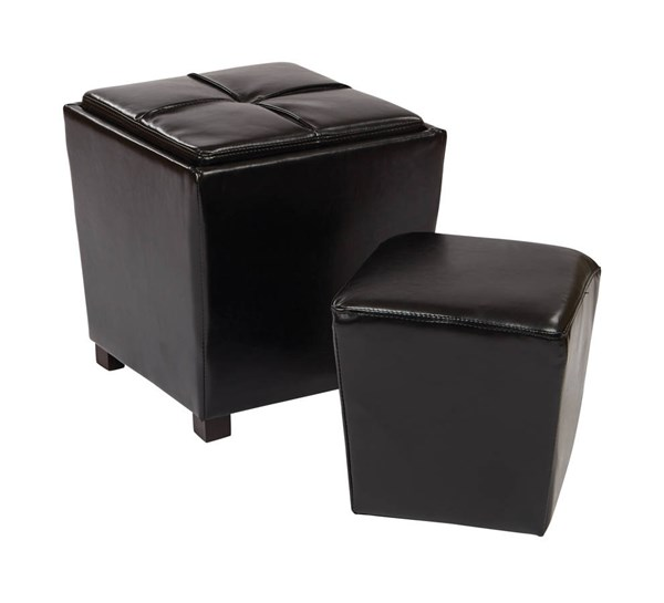 Metro Black Bonded Leather Wood 2-Piece Ottoman Set OSP-MET361BBK