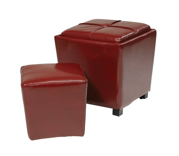 Metro Red Bonded Leather Wood 2-Piece Ottoman Set OSP-MET361BRD