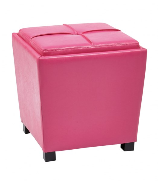 Metro Pink Vinyl Wood Tray Top 2pc Storage Ottoman Set OSP-MET361V-PB261