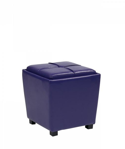 Metro Purple Vinyl Wood Tray Top 2pc Storage Ottoman Set OSP-MET361V-PB512