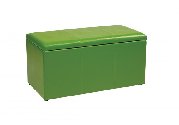 Metro Transitional Green Vinyl Wood 3pc Storage Ottoman Set OSP-MET73V-PB6