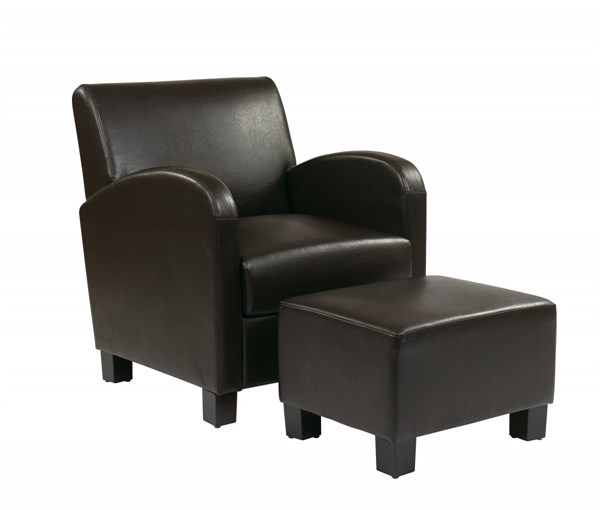 Metro Transitional Espresso Faux Leather Wood Club Chair & Ottoman Set OSP-MET807