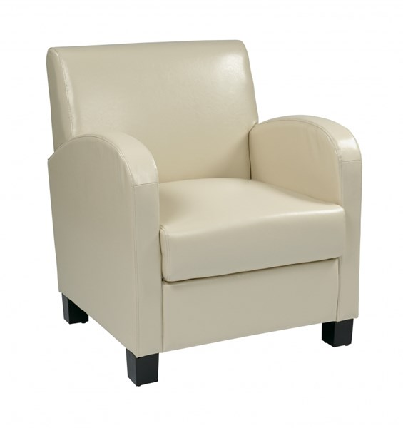 Metro Transitional Cream Bonded Leather Espresso Wood Legs Club Chair OSP-MET807RCM