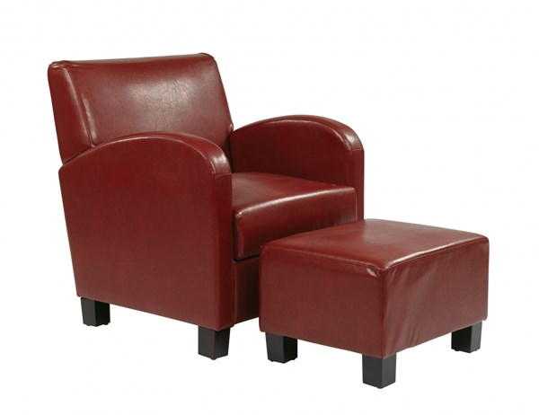 Metro Transitional Crimson Red Faux Leather Club Chair & Ottoman Set OSP-MET807RD