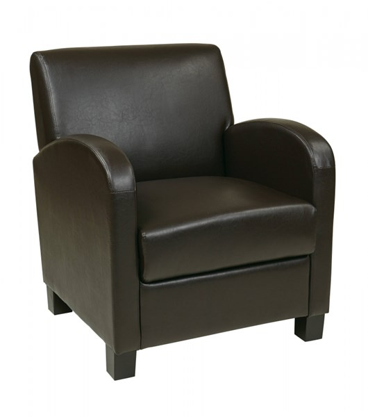 Metro Transitional Espresso Bonded Leather Wood Legs Club Chair OSP-MET807RES