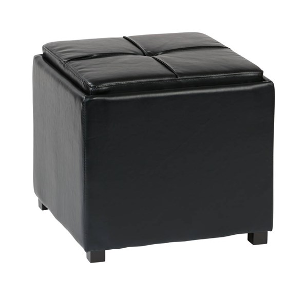 Contemporary Black Faux Leather Wood Nesting Storage Ottomans w/Tray OSP-MET821-BK