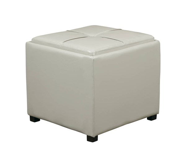 Contemporary Cream Faux Leather Wood Nesting Storage Ottomans w/Tray OSP-MET821-CM