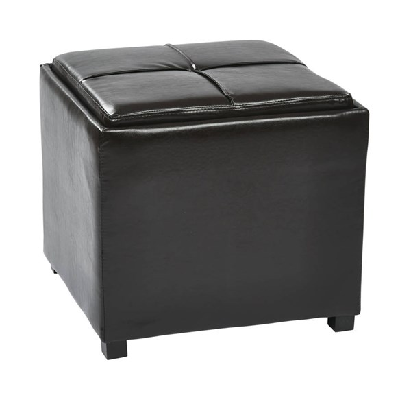 Contemporary Espresso Faux Leather Wood Nesting Storage Ottoman w/Tray OSP-MET821-ES